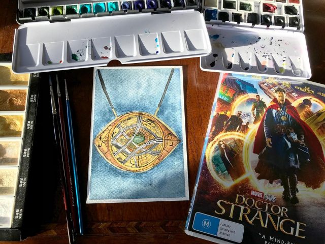 MCU movie 14: Doctor Strange. Great movie, cool costumes and visual design! #mcu #doctorstrange #eyeofagamotto #watercolor #kristarellasabbatical