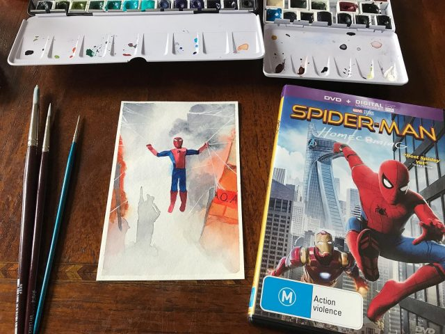 MCU movie 16: Spider-man Homecoming. This painting is long overdue as we watched this a while ago. The opening scenes of this movie have fantastic comedic timing, second best opening of all the MCU! I wanted to paint this scene, then thought it was too hard and painted just his suit logo (last image) then didn't like it and painted this. Still finding people shapes difficult, but happy with the mist and smoke. #mcu #spidermanhomecoming #watercolor #kristarellasabbatical
