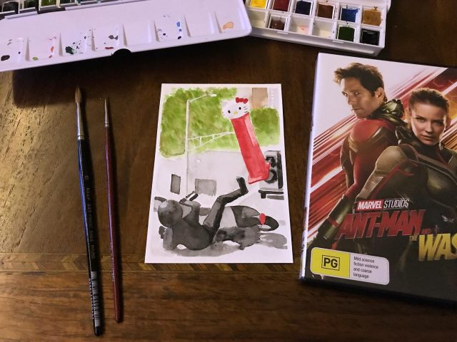 MCU movie 20: Ant-man and the Wasp. The choice of a painting was a toss-up between Pez and World's Greatest Grandma 🏆😆 #mcu #antmanandthewasp #hellokitty #watercolor