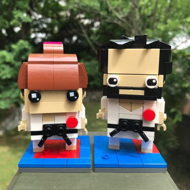 Karate Kristen and Dave, finally built for realz 😆🥋🖤 #brickheadz #lego #afol #karate