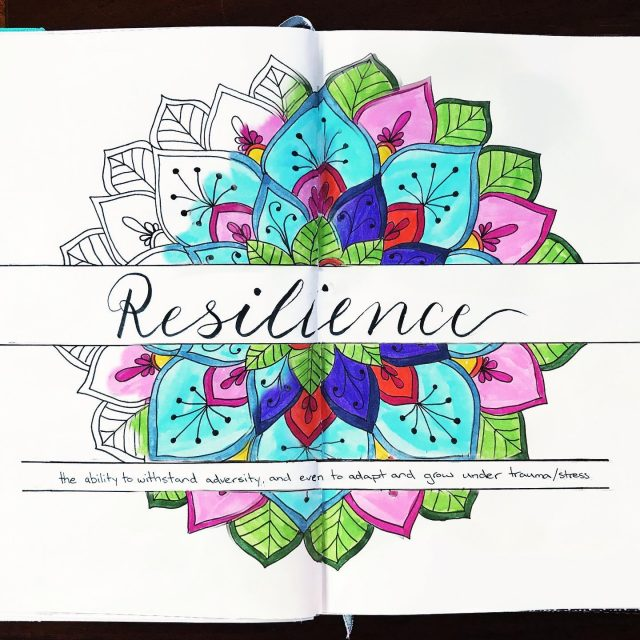 This is my word of the year #resilience I want to bounce back from adversity, and be able to grow even under stress. #lettering #brushlettering #wordoftheyear #2021