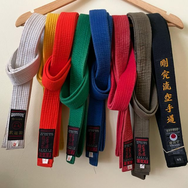 Belt collection complete 🌈🥋 Next grading I can swap my plain black for the one with writing on it. Love this journey. #gkrkarate
