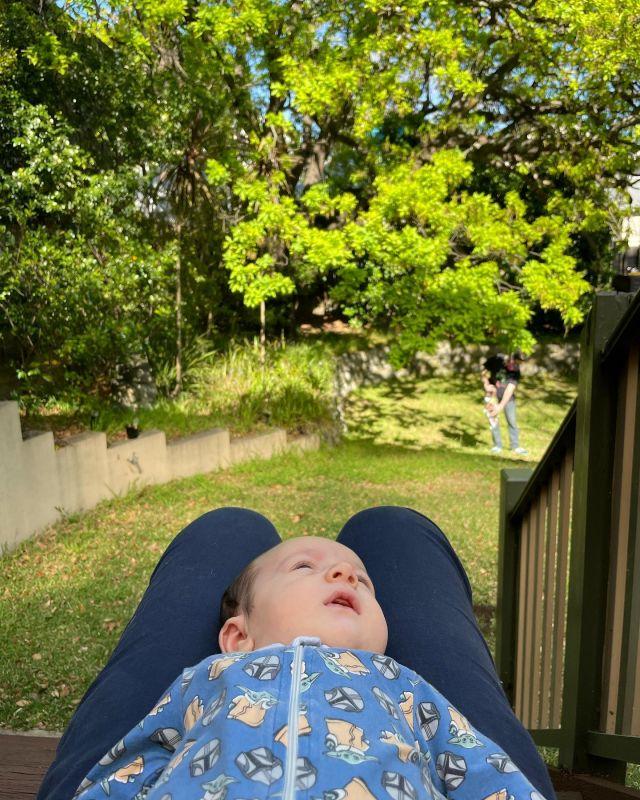 Enjoying the back yard this morning!